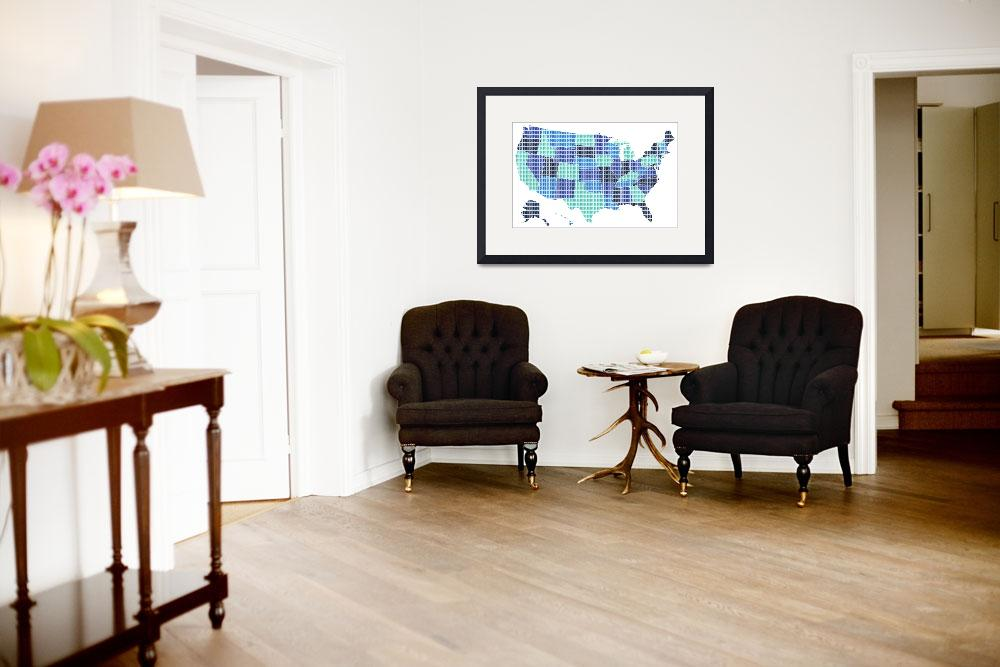 """United States Map - Blue&quot  (2016) by garyhogben"