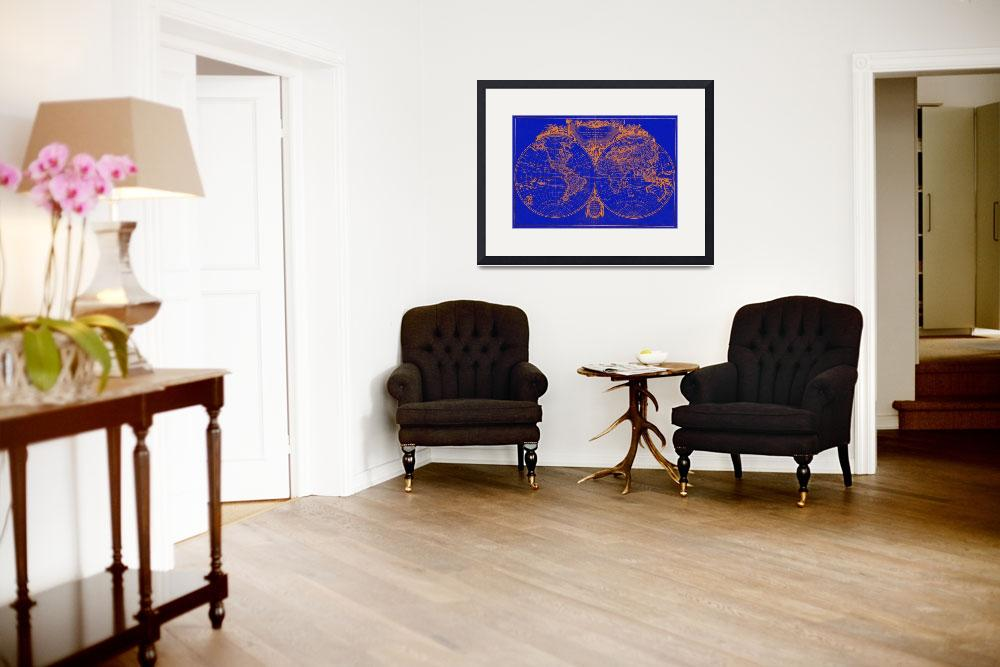 """World Map (1775) Blue & Orange&quot  by Alleycatshirts"