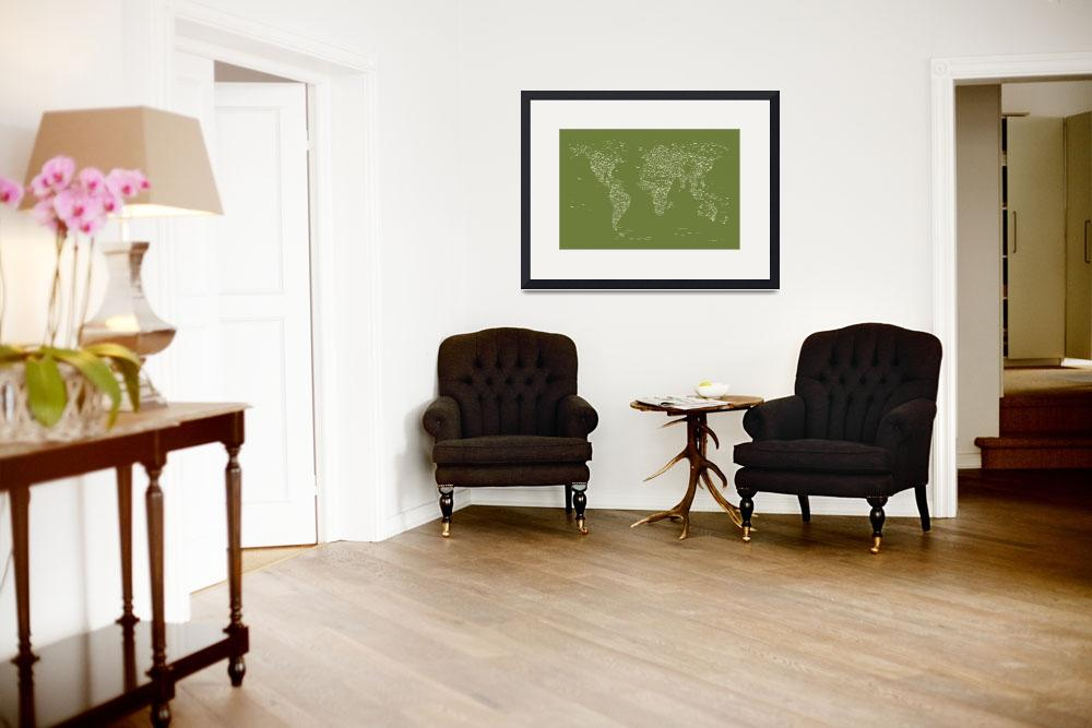 """World City Text Map Olive&quot  (2012) by ModernArtPrints"