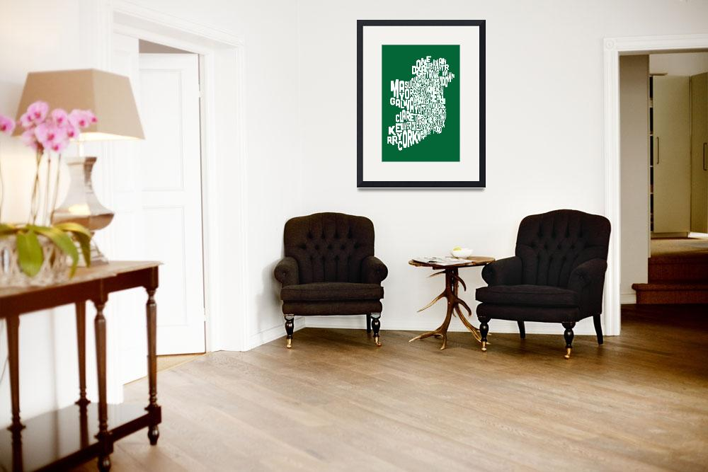 """Ireland Eire County Text Map&quot  (2013) by ModernArtPrints"