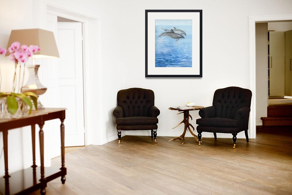 """playful dolphins&quot  (2005) by LisaMclaughlin"