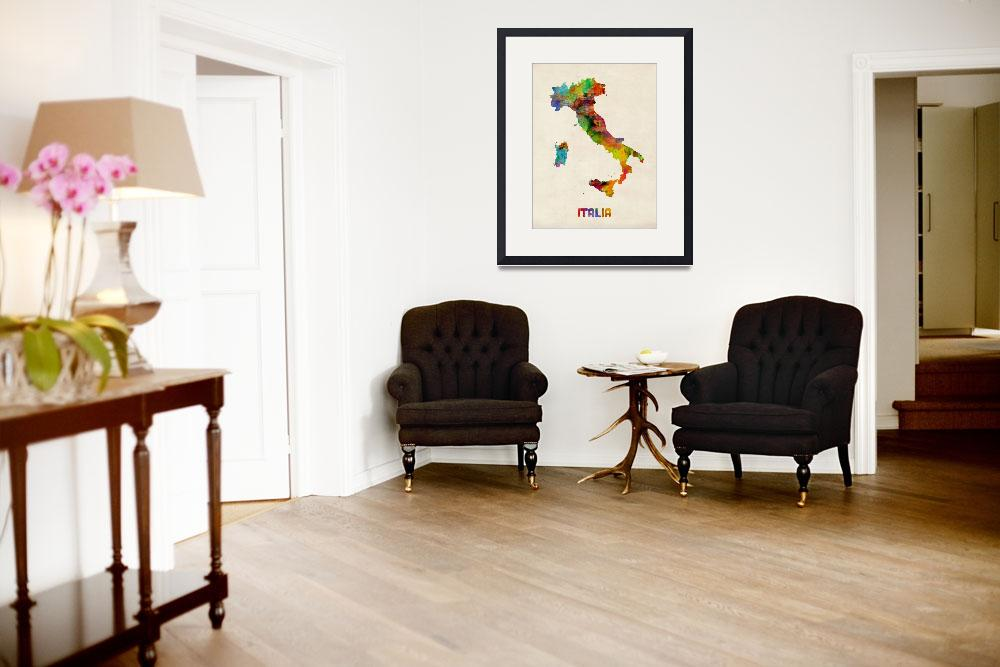 """Italy Watercolor Map, Italia&quot  (2013) by ModernArtPrints"