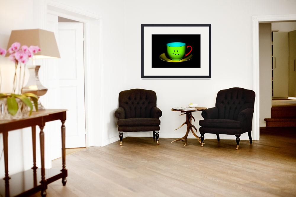 """Funny Wall Art - Confused Colourful Teacup&quot  by NatalieKinnear"