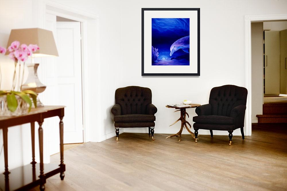 """Dolphin and Reef Oil Painting&quot  by savanna"