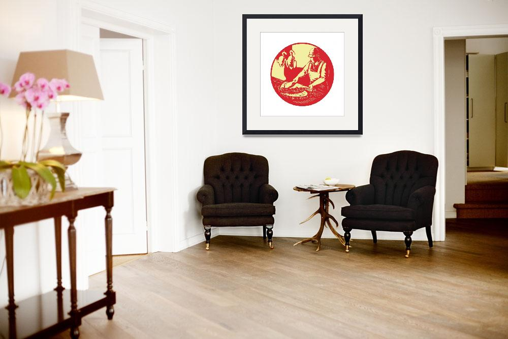 """Chinese Cook Chop Meat Oval Circle Woodcut&quot  (2016) by patrimonio"