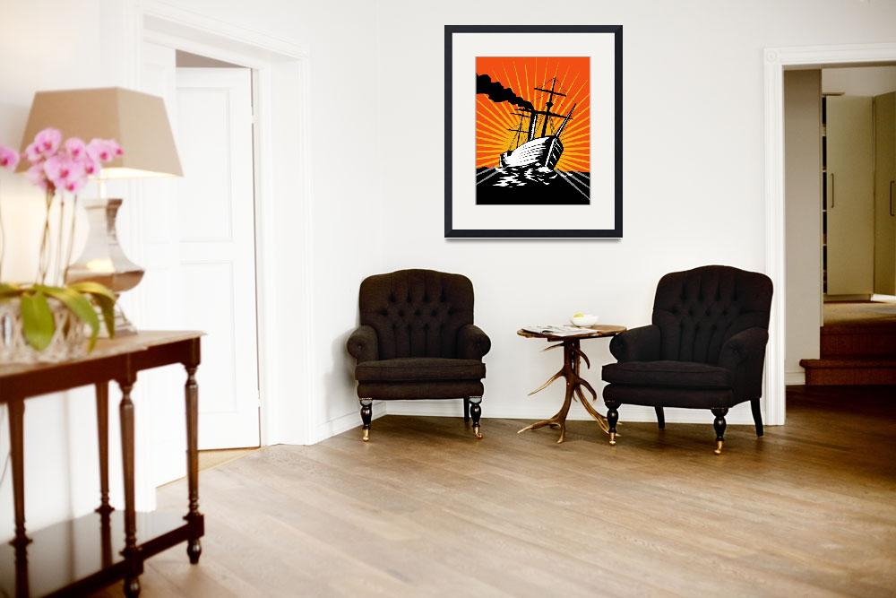 """Sailing Ship Retro Woodcut&quot  (2012) by patrimonio"
