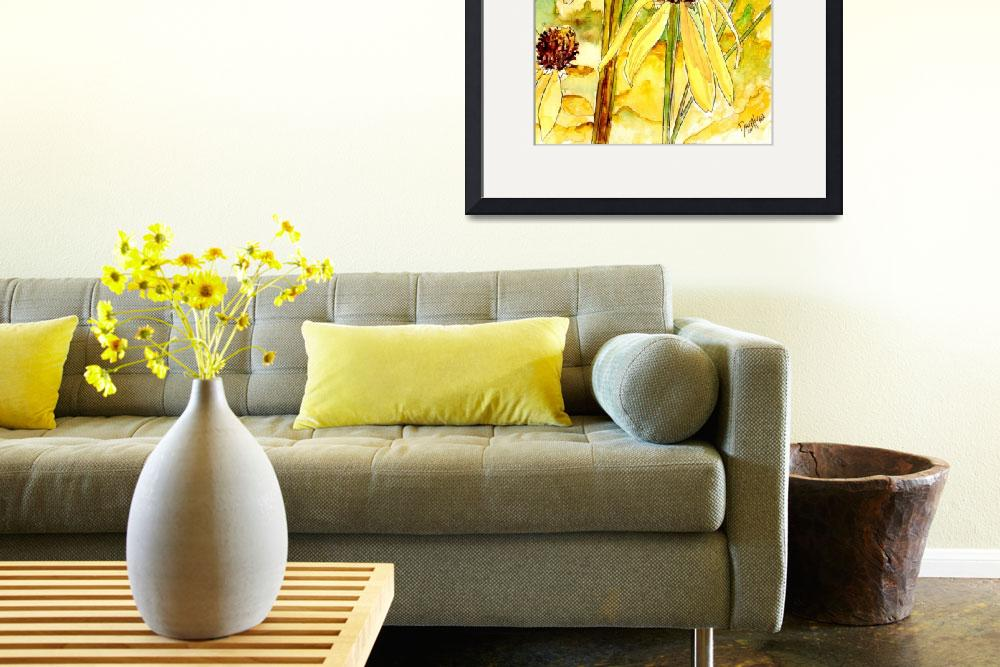"""yellow coneflower watercolor painting print&quot  (2008) by derekmccrea"