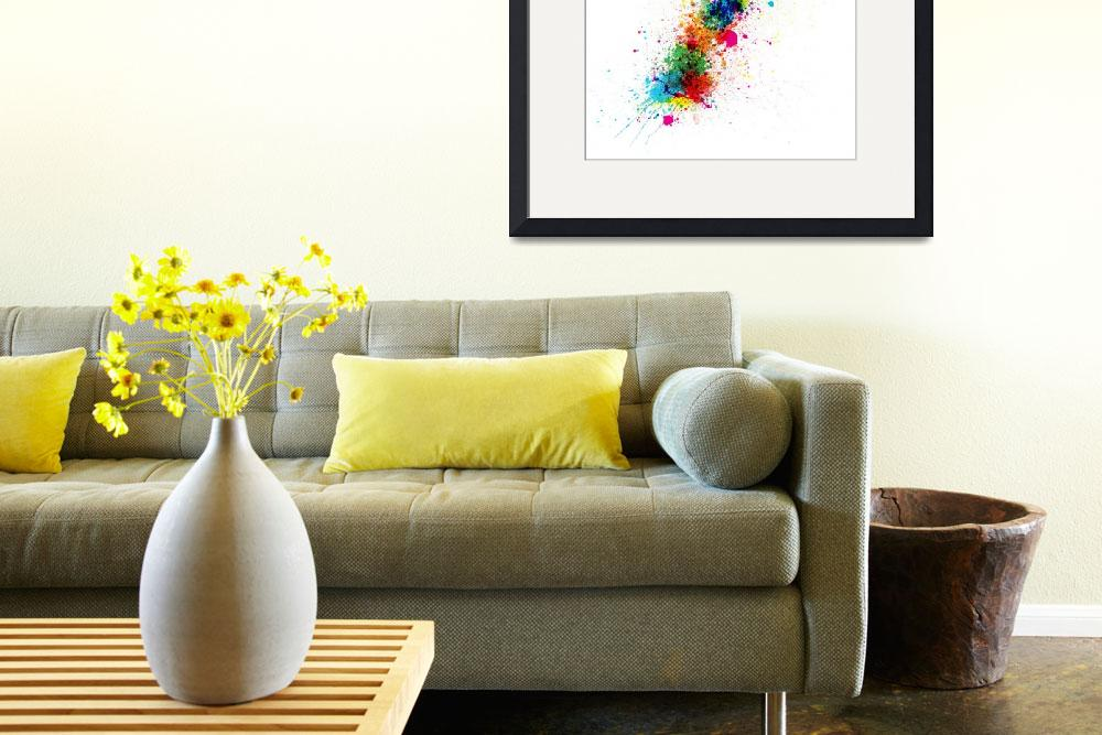 """Paint splashes map of New Zealand&quot  (2012) by ModernArtPrints"
