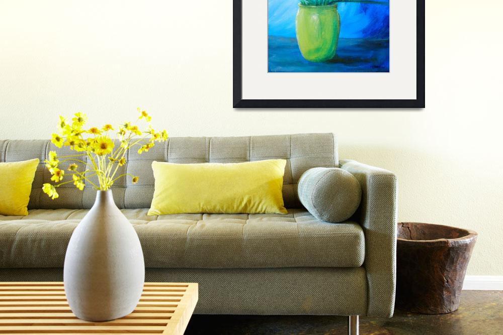 """Daffodils in Green Vase&quot  (2015) by ckjonesart"