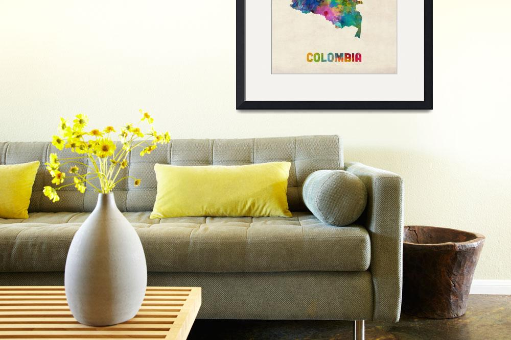 """Colombia Watercolor Map&quot  (2014) by ModernArtPrints"