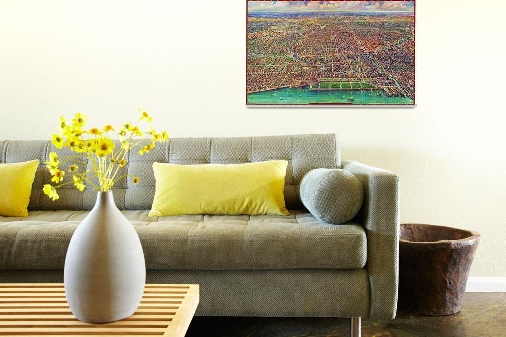 """Chicago Illinois Panoramic Map&quot  by ArtLoversOnline"