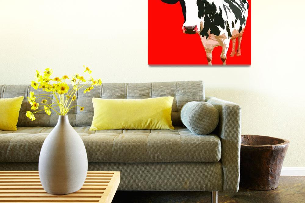"""Cow in Red World&quot  (2010) by whitewallgallery"
