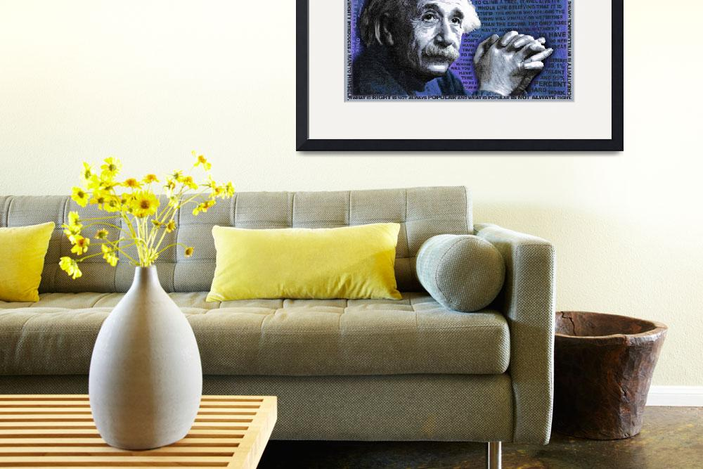 """Albert Einstein and Quotes Blue&quot  (2014) by RubinoFineArt"