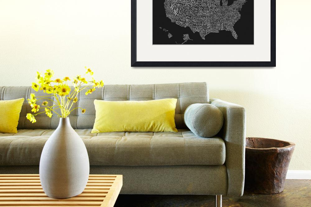 """United States Music Map Grey and White&quot  (2015) by TrudyClementine"