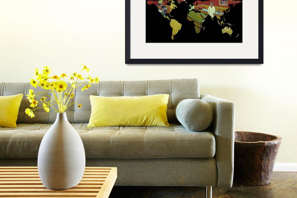 """World Map Silhouette - Van Gogh"