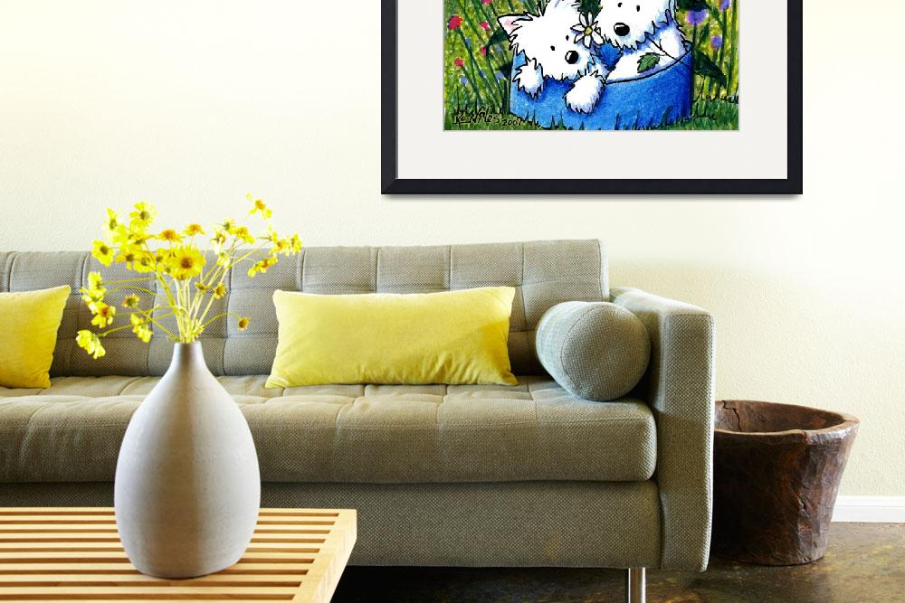 """Flowerbed Westies&quot  (2007) by KiniArt"