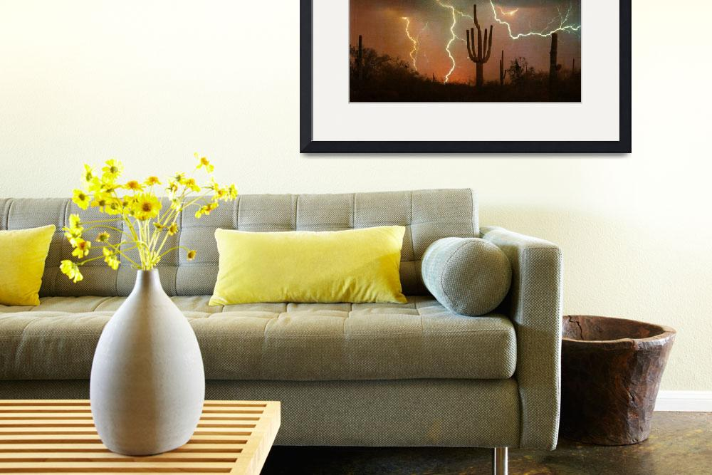 """Arizona Saguaro Lightning Storm&quot  (2010) by lightningman"