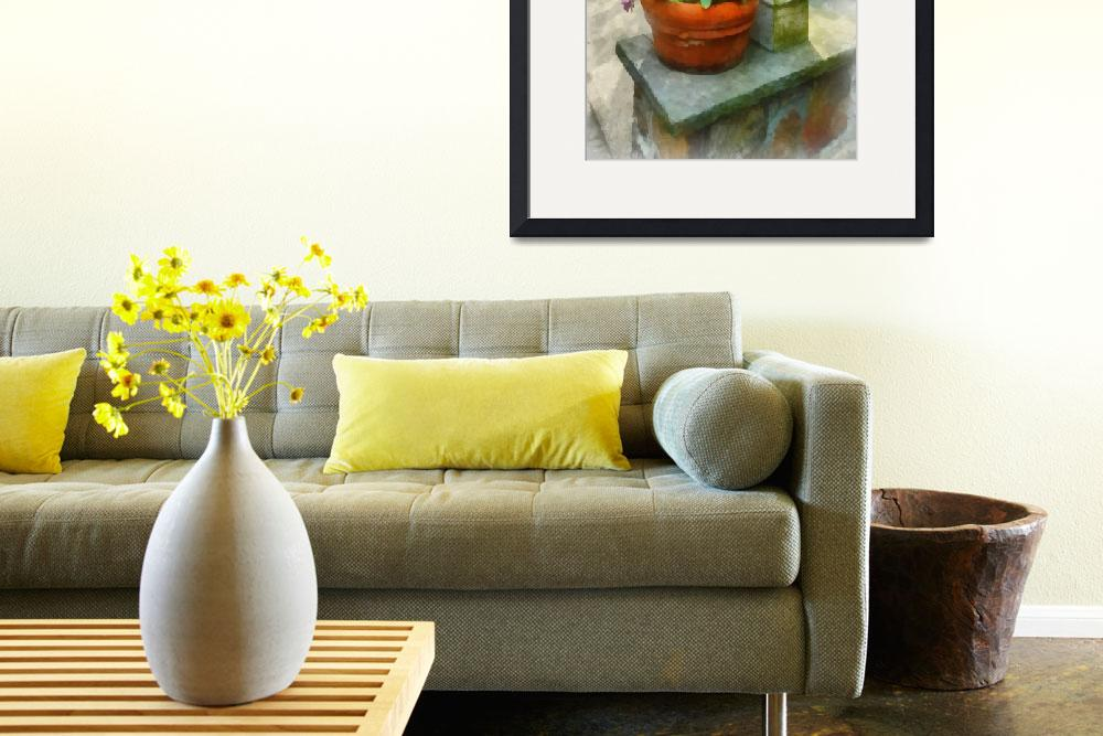 """Daffodils and Pansies in Flowerpot&quot  (2012) by susansartgallery"