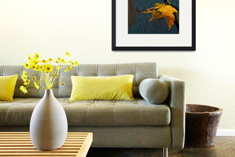 """Yellow Leaf on Blue Table&quot  (2009) by ashtonbancroft"