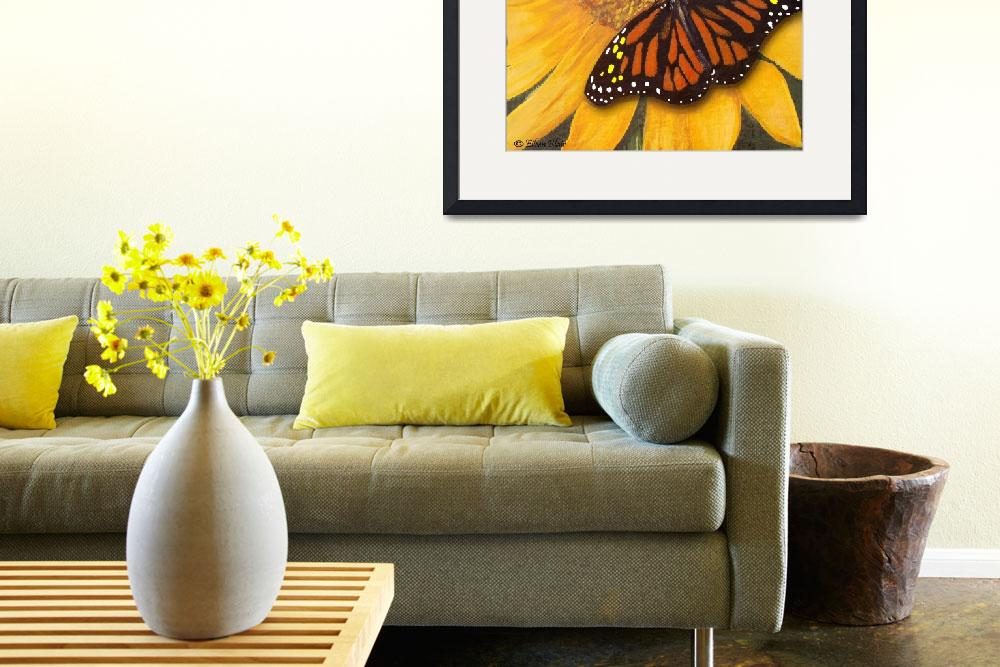 """Sunflower & Butterfly Painting&quot  (2009) by EMBlairArtwork"