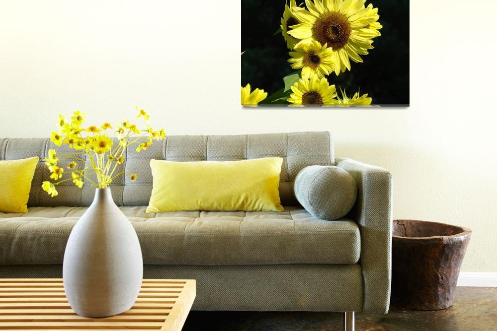 """Blue Sky Sunflower Art Print Sun Flowers Baslee&quot  (2009) by BasleeTroutman"