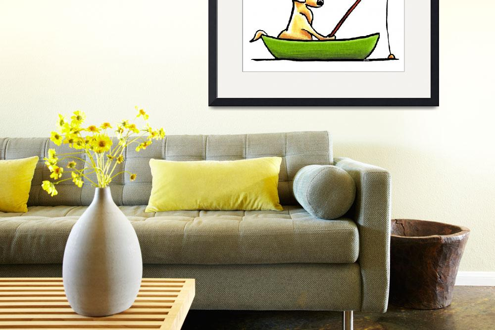 """Yellow Lab Fishing&quot  (2011) by OffLeashArt"