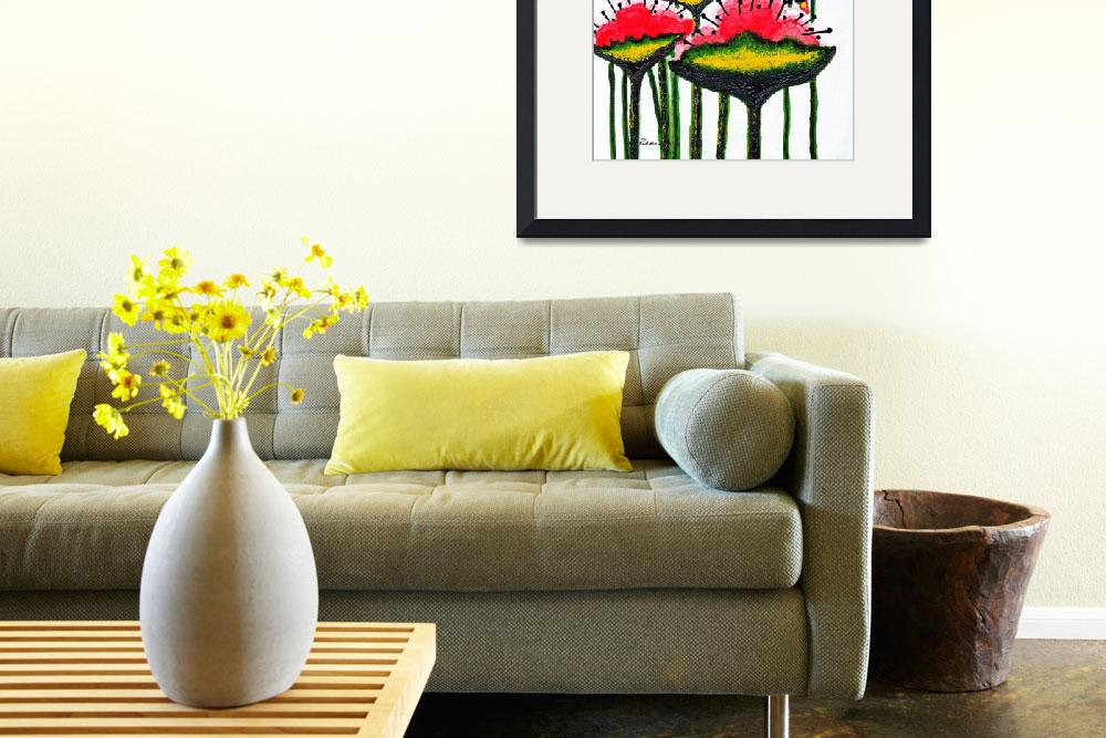 """Expressive Wild Red Pink and Yellow Poppies w4a&quot  (2014) by Ricardos"