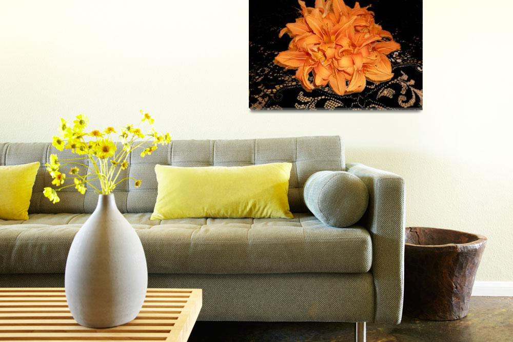 """Cluster of Orange Day Lilies on Black Lace&quot  (2008) by aparnaphadnis"