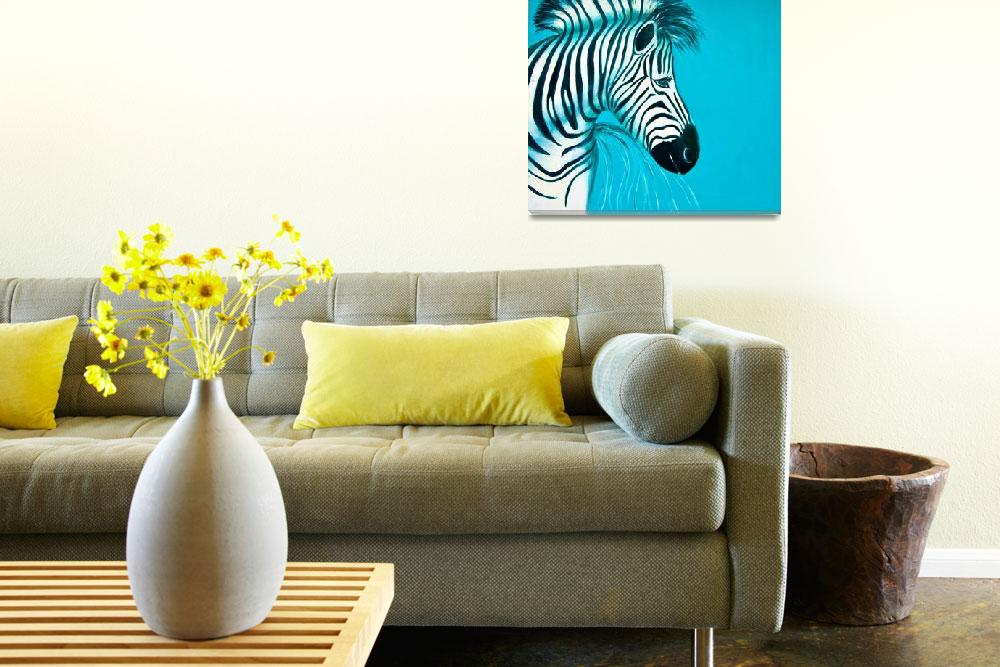 """Zebra Blue Popart Pop Art Paintings&quot  (2010) by Spangles44"