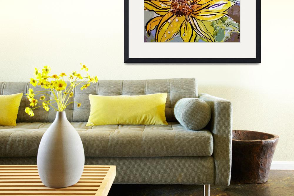 """Sunflower Yellow Ribbon Watercolor and Ink Art&quot  (2014) by GinetteCallaway"