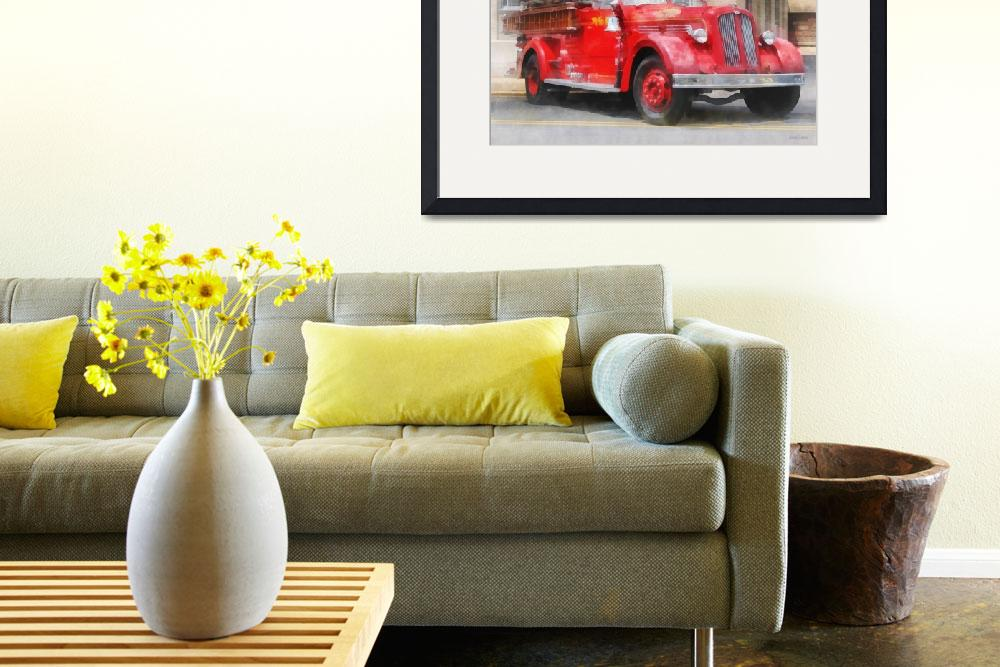 """Vintage Fire Truck&quot  (2013) by susansartgallery"