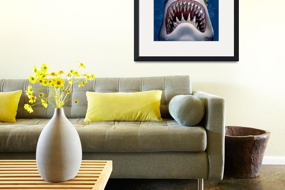 """Jaws Great White Shark Sea Life Ocean Art&quot  (1995) by walt-curlee"