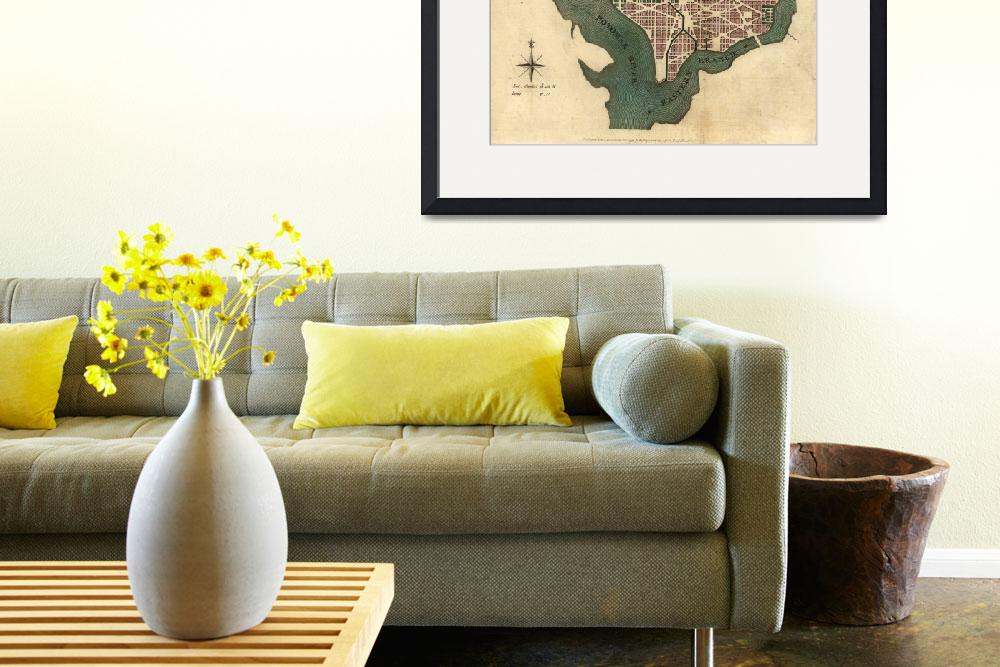"""Vintage Map of Washington D.C. (1793)&quot  by Alleycatshirts"