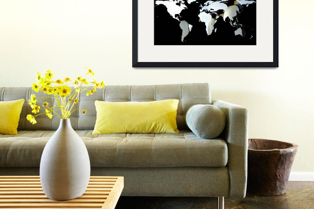 """World Map Silhouette - Penguins&quot  by Alleycatshirts"