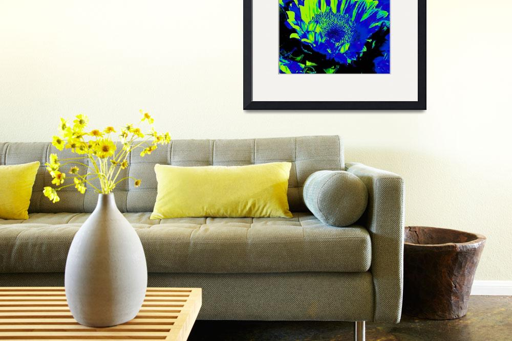 """Sunflowers: Blue Yellow Green 0290&quot  by vicki-pix"