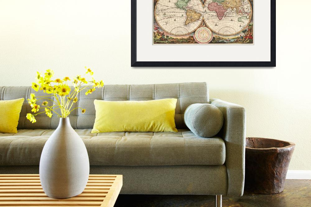 """Vintage Map of The World (1730)&quot  by Alleycatshirts"