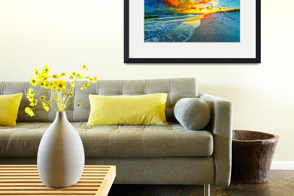 """beautiful blue sky orange sunset beach seascape&quot  (2015) by eszra"
