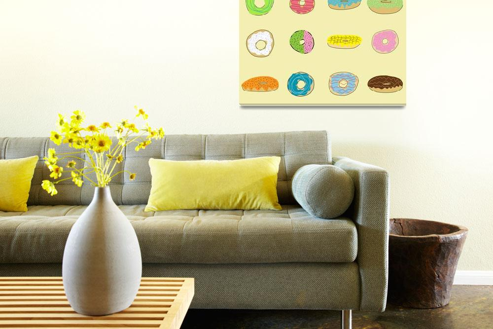 """Sixteen Donuts on Yellow&quot  (2013) by TuesdayMoon"