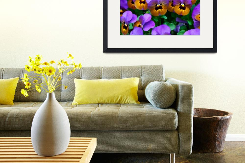 """Little Purple Pansies Trimmed in Yellow Gold&quot  (2013) by SaraValor"