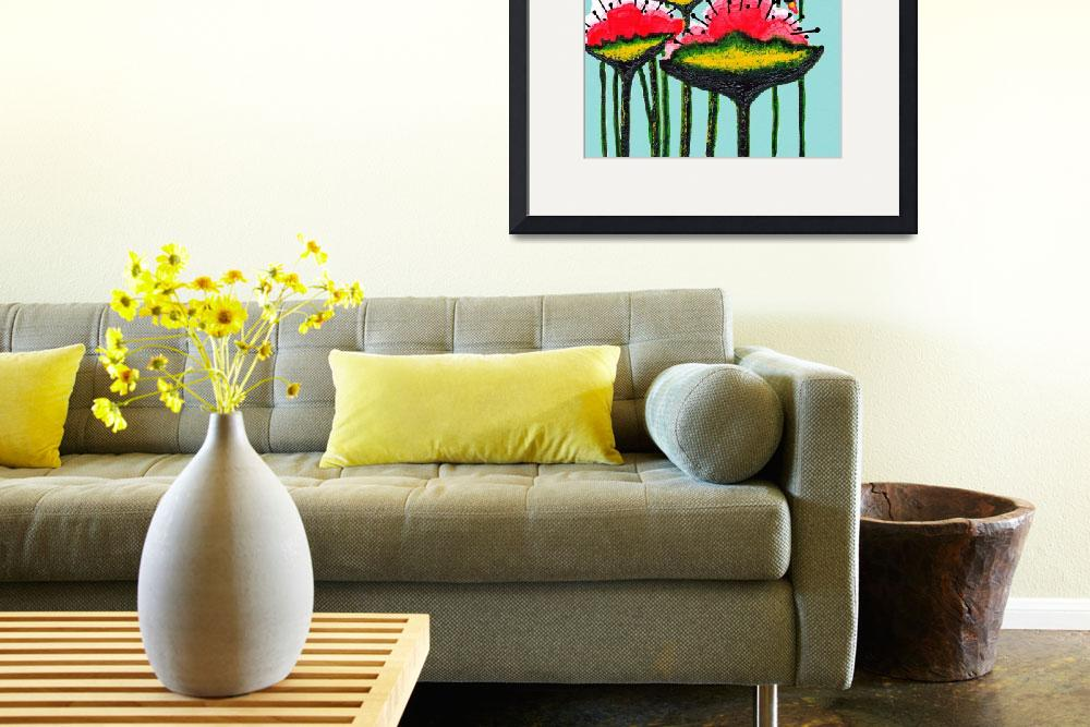 """Expressive Wild Red Pink and Yellow Poppies w4b&quot  (2014) by Ricardos"