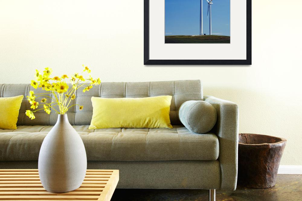 """Pair of wind farm turbines in green grass&quot  by Panoramic_Images"