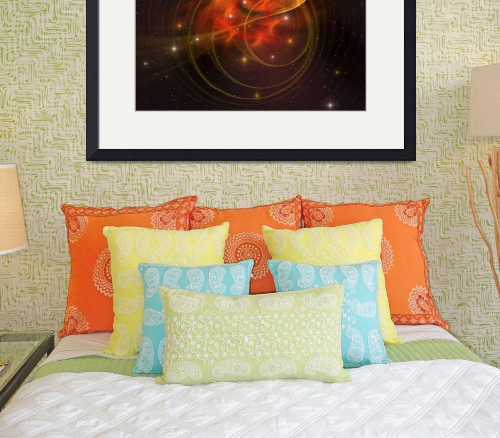 """A galaxy out in space has reddish orange swirls in&quot  by stocktrekimages"