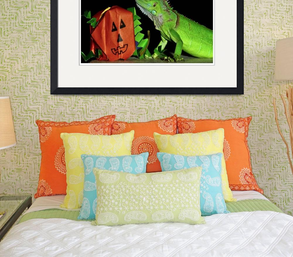 """Green Iguana and Handcrafted Pumpkin&quot  (2007) by PhotographsByCarolFAustin"