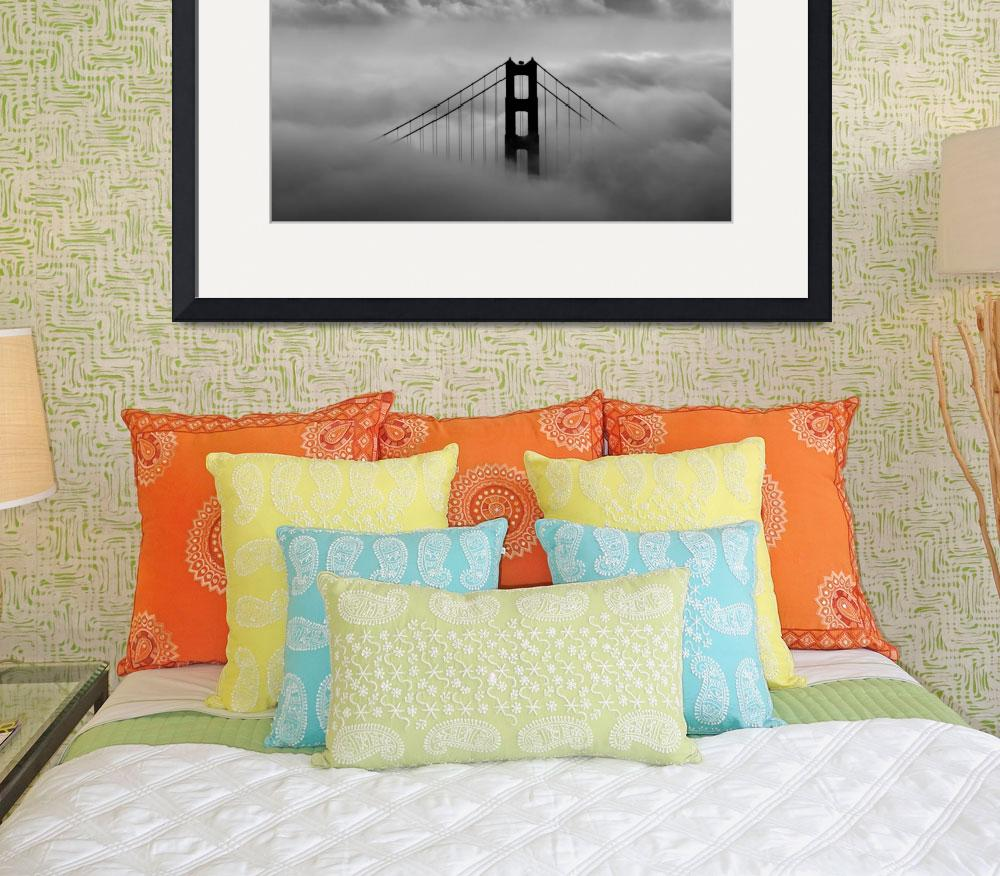 """Golden Gate Bridge in the Clouds B&W&quot  by robkroenert"