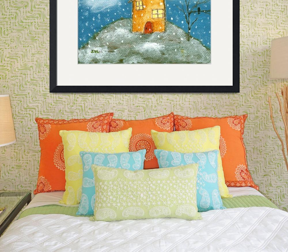 """Early Snow Storm, Whimsical House, Landscape Art&quot  (2012) by Itaya"