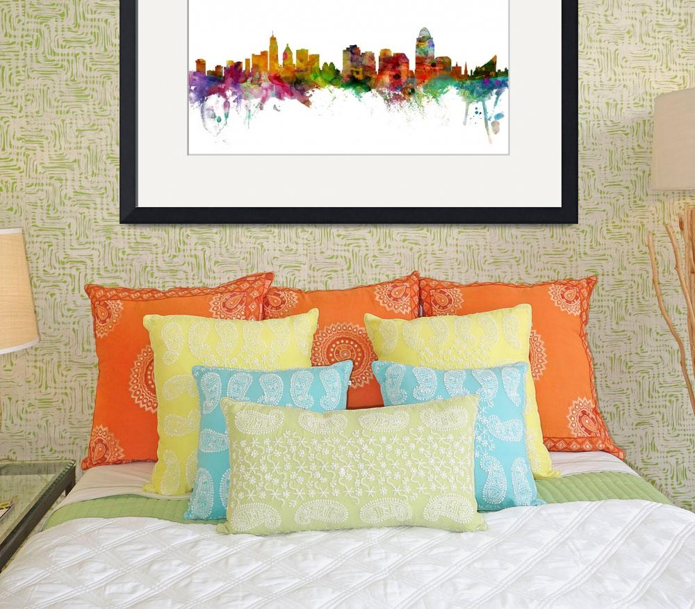 """Cincinnati Ohio Skyline&quot  (2013) by ModernArtPrints"