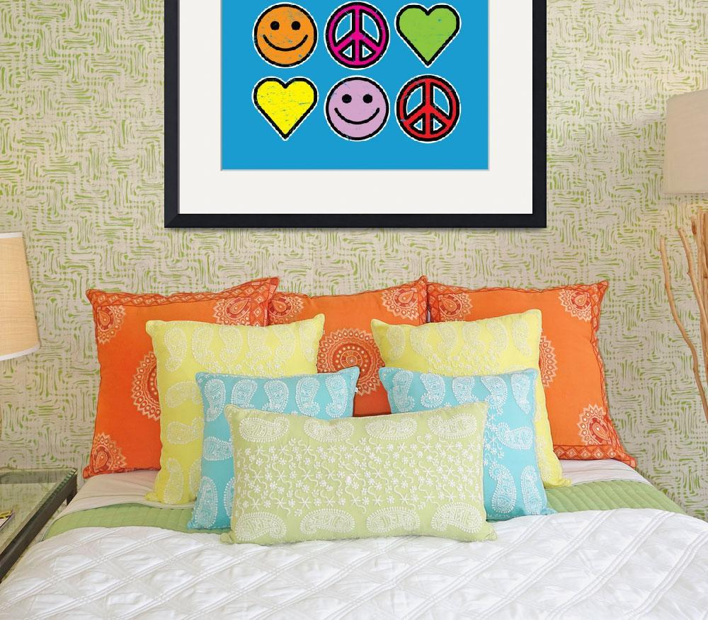 """RETRO PEACE SMILEYS HEARTS&quot  (2008) by icreate"