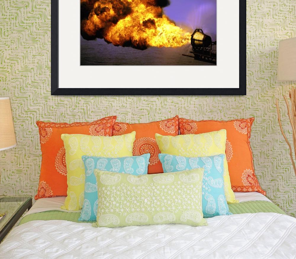 """Oil Industry Flaring Gas-Oilfield-Framed Photo&quot  (2006) by Tulsa1000"