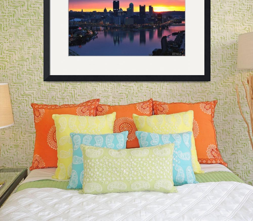"""Pittsburgh Skyline at Dawn&quot  (2009) by Shadrags"