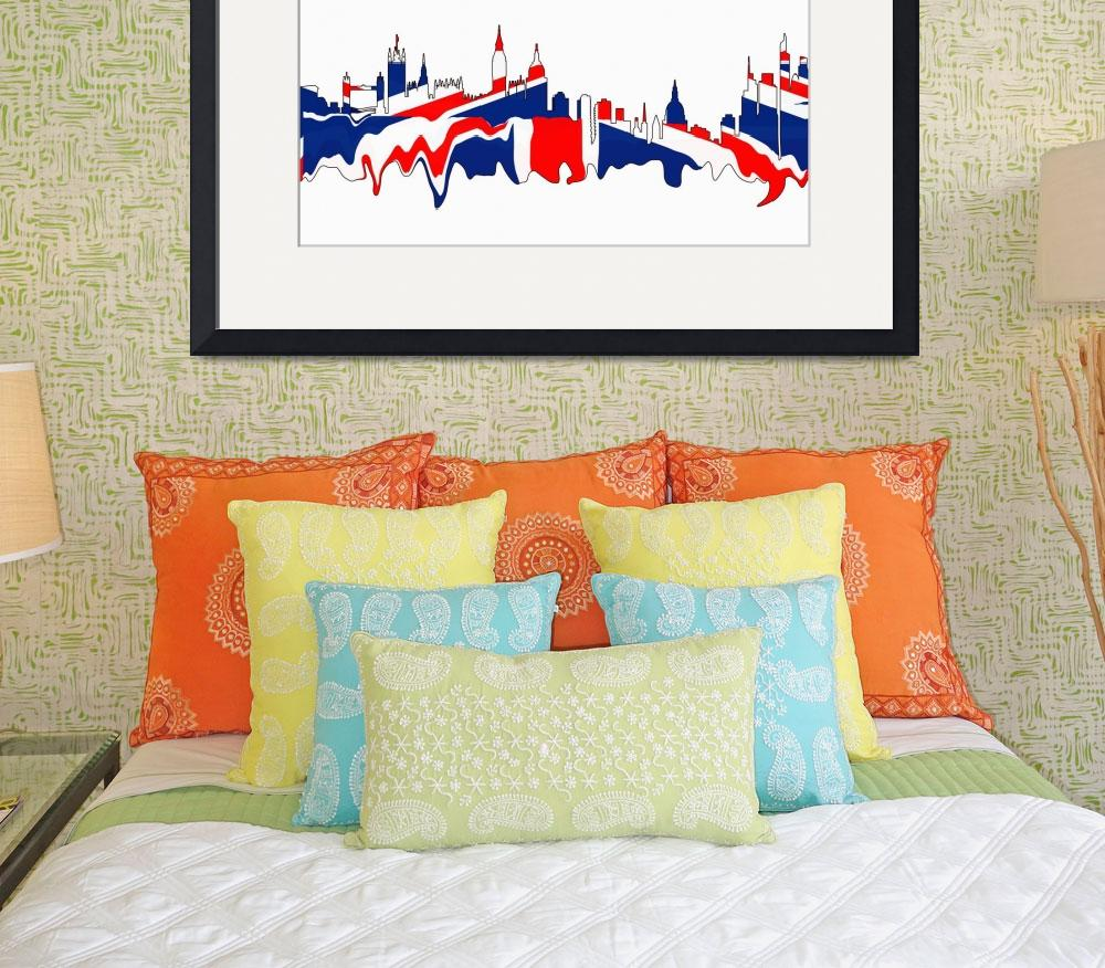 """London Skylines British Flag Colors&quot  (2014) by GinetteCallaway"